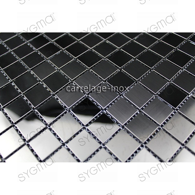 Carrelage inox mosaique inox credence faience miroir noir mix for Mosaique miroir