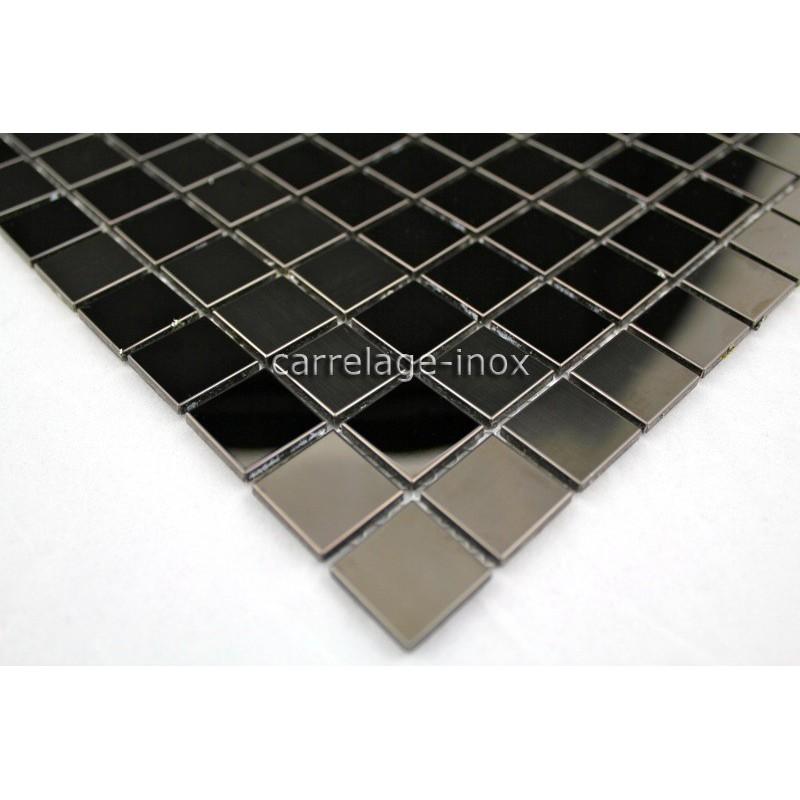 Mosaique et carrelage inox faience cuisine miroir noir mix for Credence inox miroir cuisine