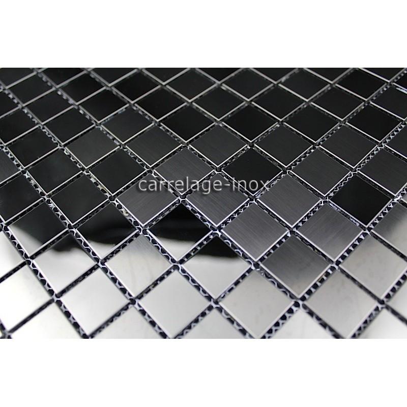 Mosaique et carrelage inox faience cuisine miroir noir mix for Miroir en mosaique