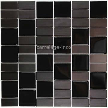 Carrelage cuisine mosaique inox et verre noir modulo - Carrelage cuisine noir ...