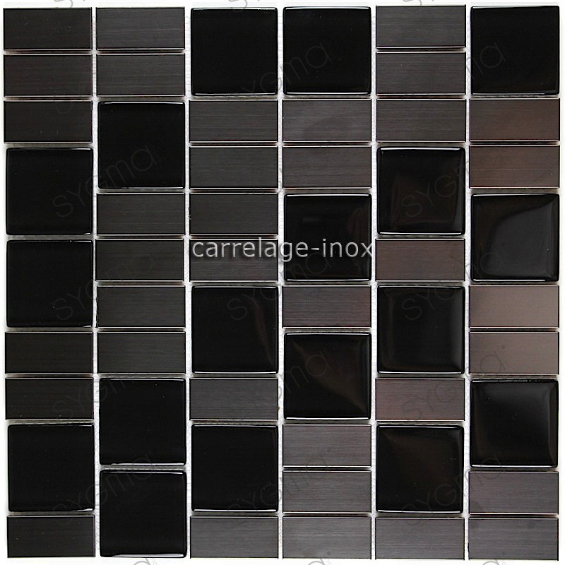 carrelage cuisine mosaique inox et verre noir modulo. Black Bedroom Furniture Sets. Home Design Ideas