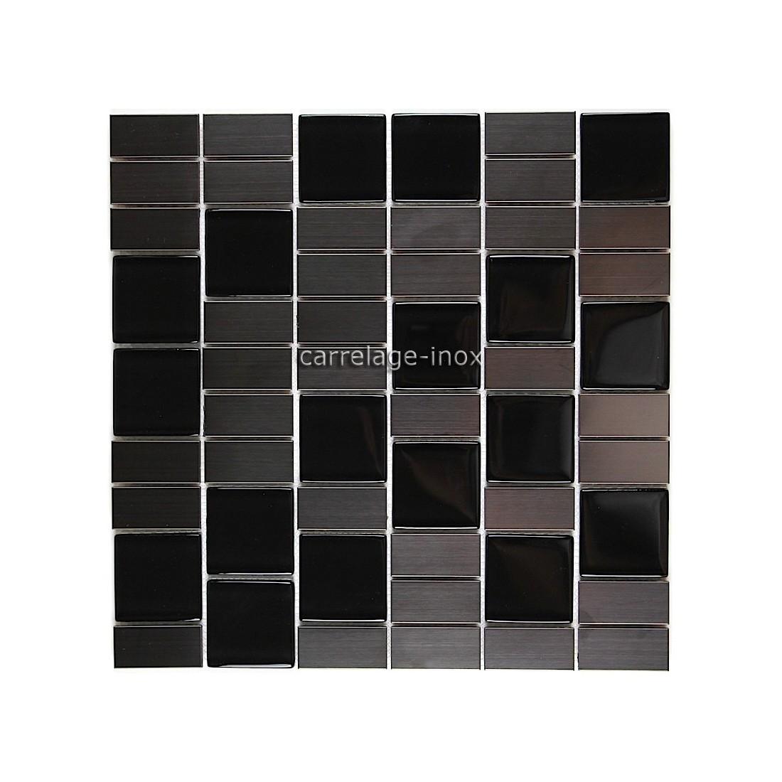 mosaique carrelage inox verre noir 1 m2 modulo. Black Bedroom Furniture Sets. Home Design Ideas