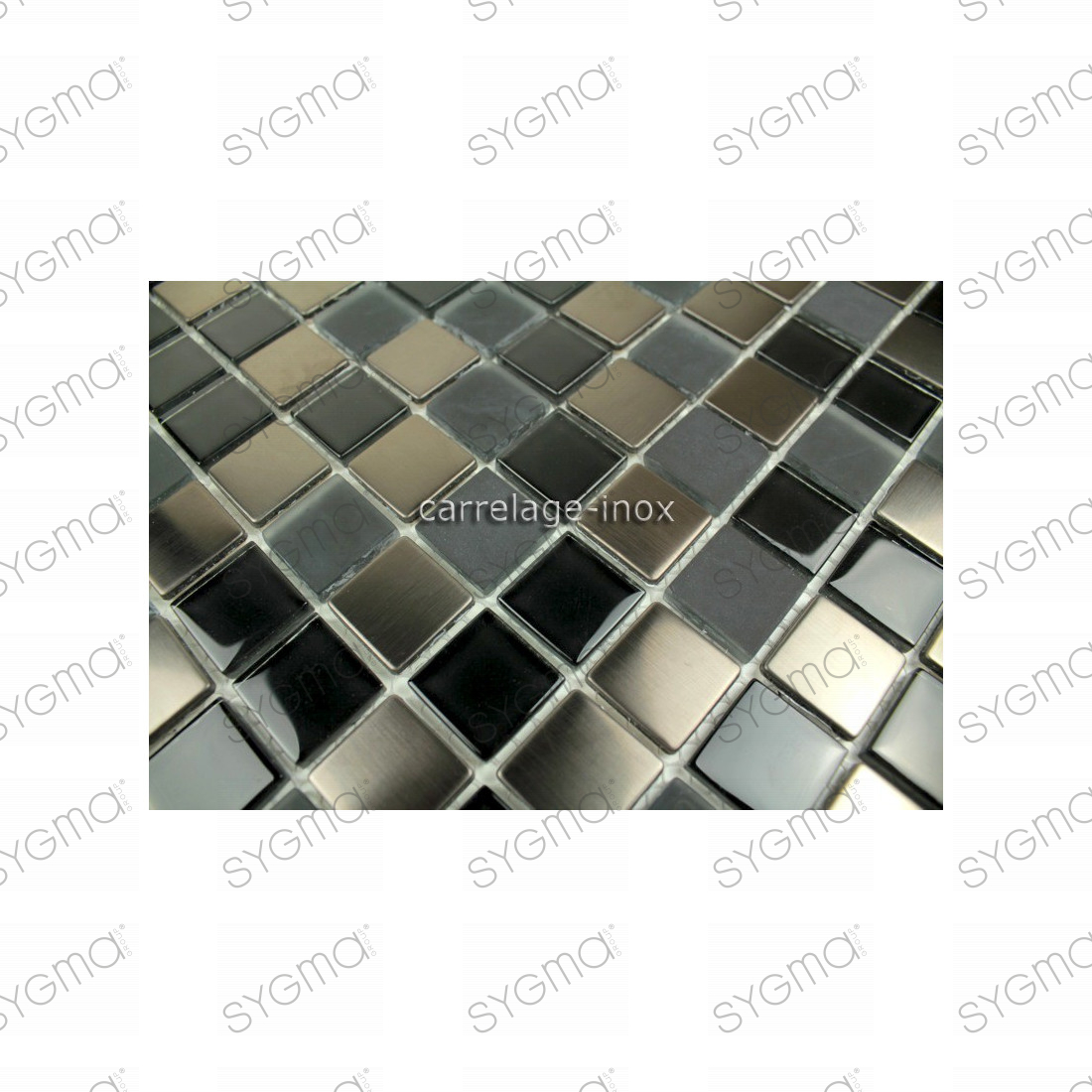 Mosaique et carrelage inox faience cuisine doblo noir for Carrelage inox