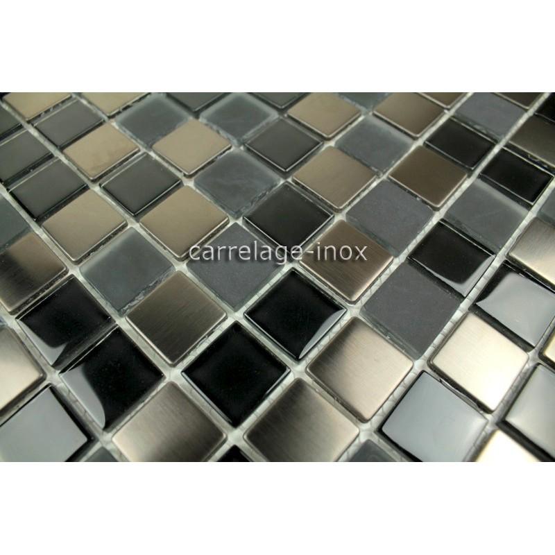 Carrelage inox et verre mosaique inox et verre doblo noir - Mosaique inox ...