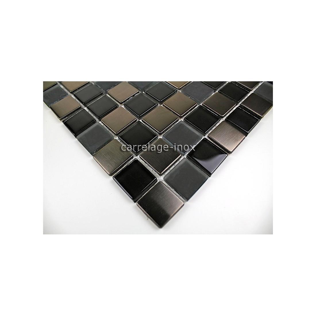 Mosaique et carrelage inox 1 m2 doblo noir for Carrelage mosaique noir