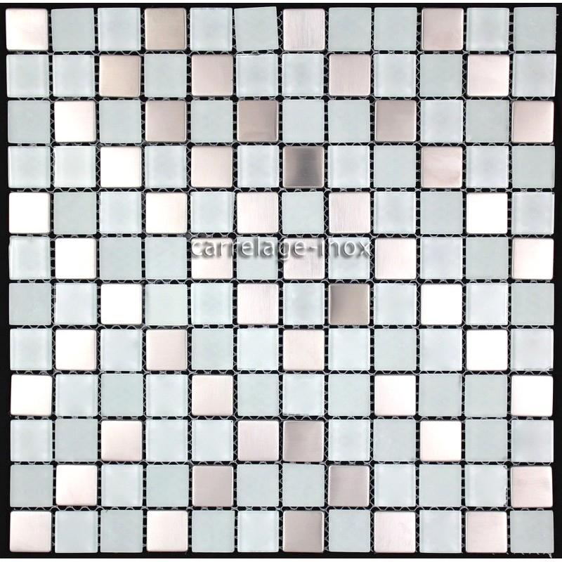 Carrelage inox et verre 1 m2 mosaique faience doblo blanc for Carrelage mosaique verre