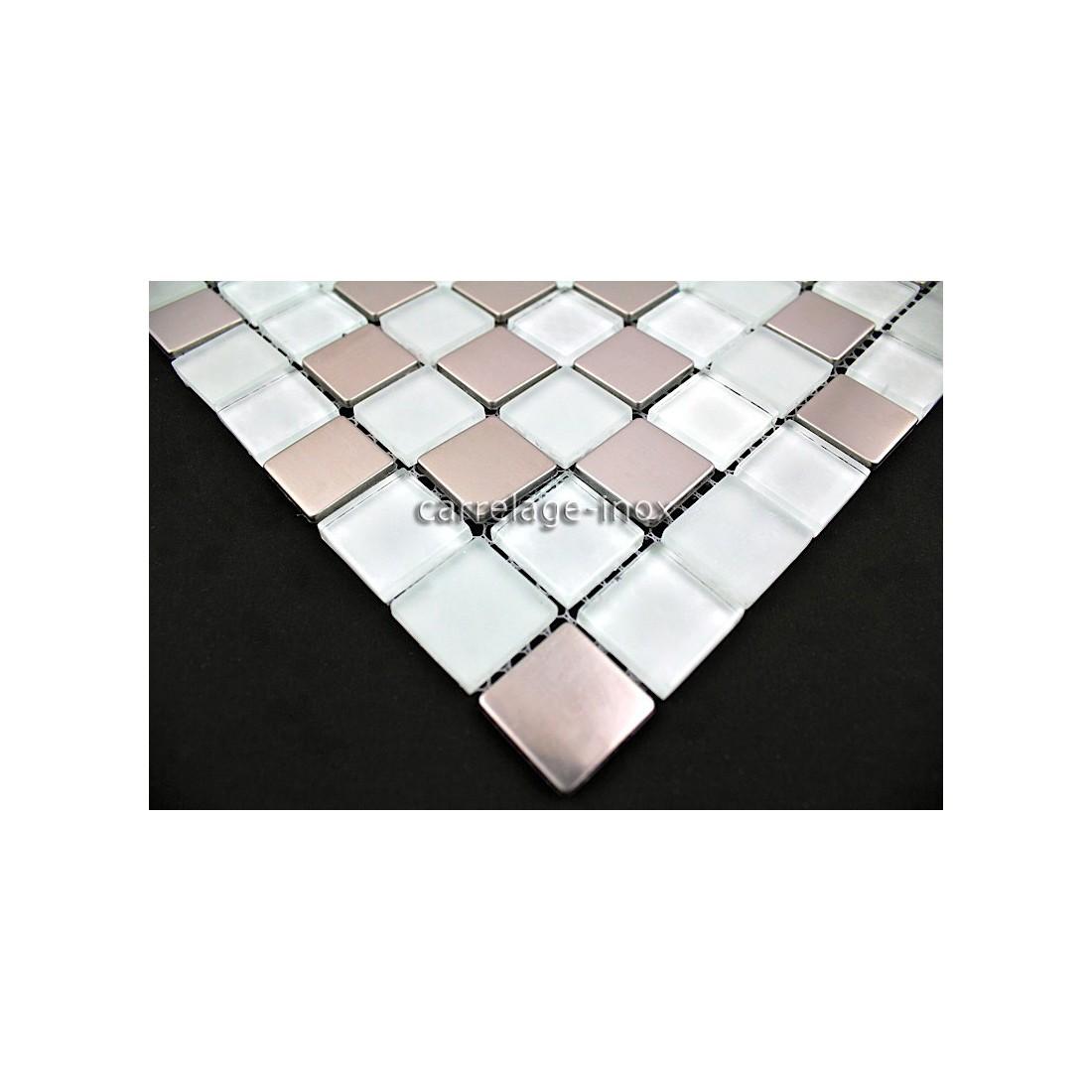 Carrelage mosaique inox et verre 1m2 doblo blanc for Carrelage mosaique blanc