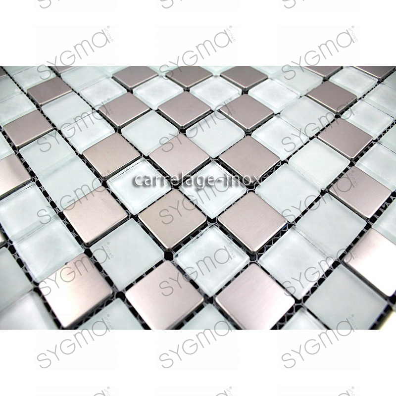 Carrelage inox et verre 1 m2 mosaique faience doblo blanc for Carrelage faience blanc