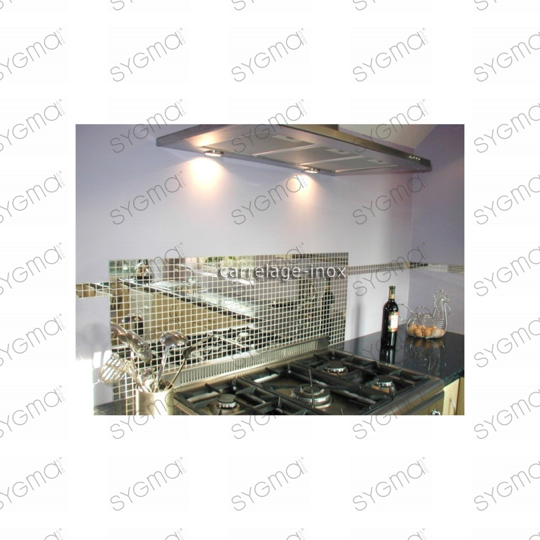 Carrelage inox miroir 1 m2 mosaique faience miroir 30 for Faience inox cuisine