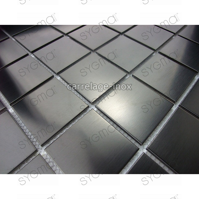 Mosaique et carrelage inox credence faience regular noir for Carrelage noir
