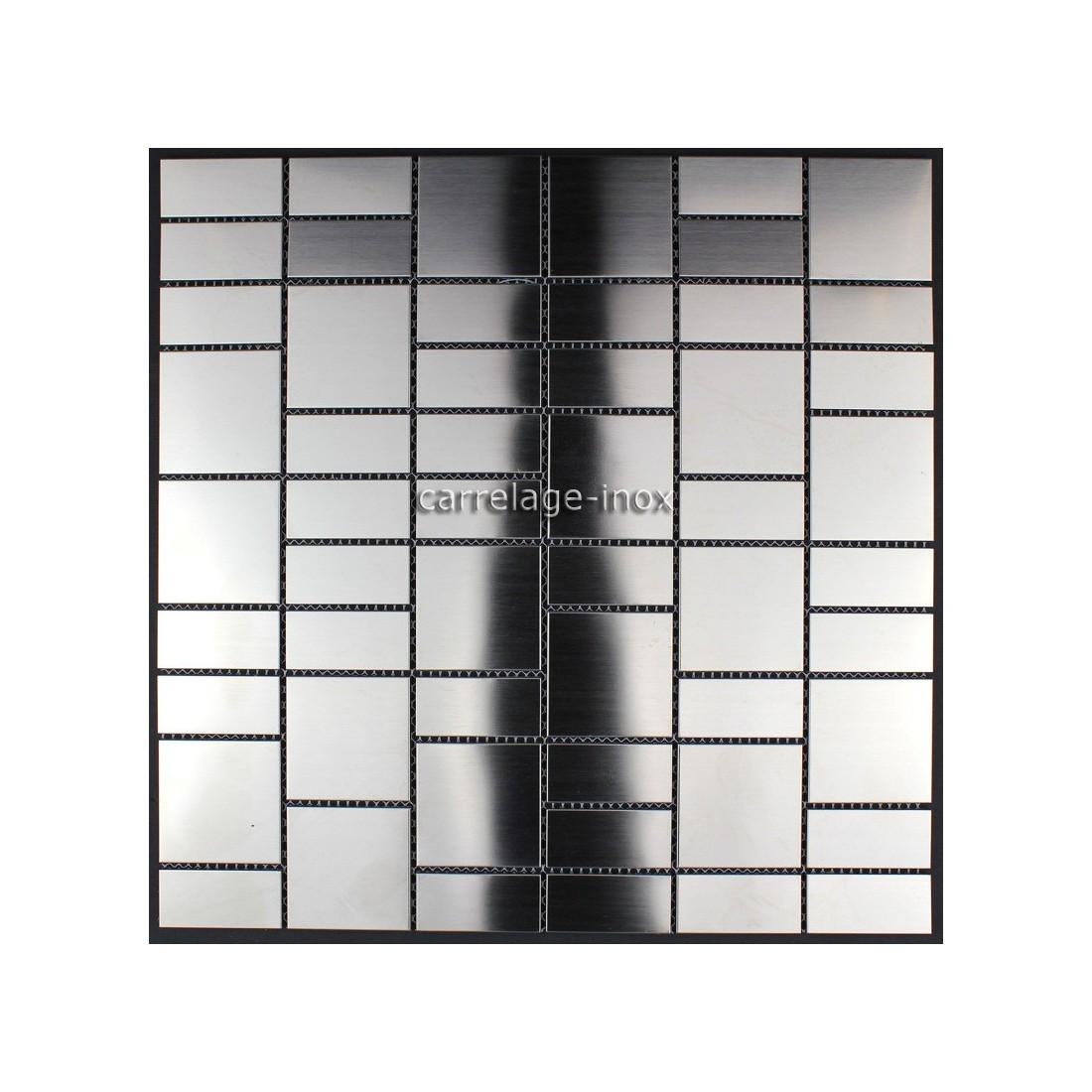 Mosaique inox brosse 1 m2 carrelage faience credence argos for Carrelage inox brosse