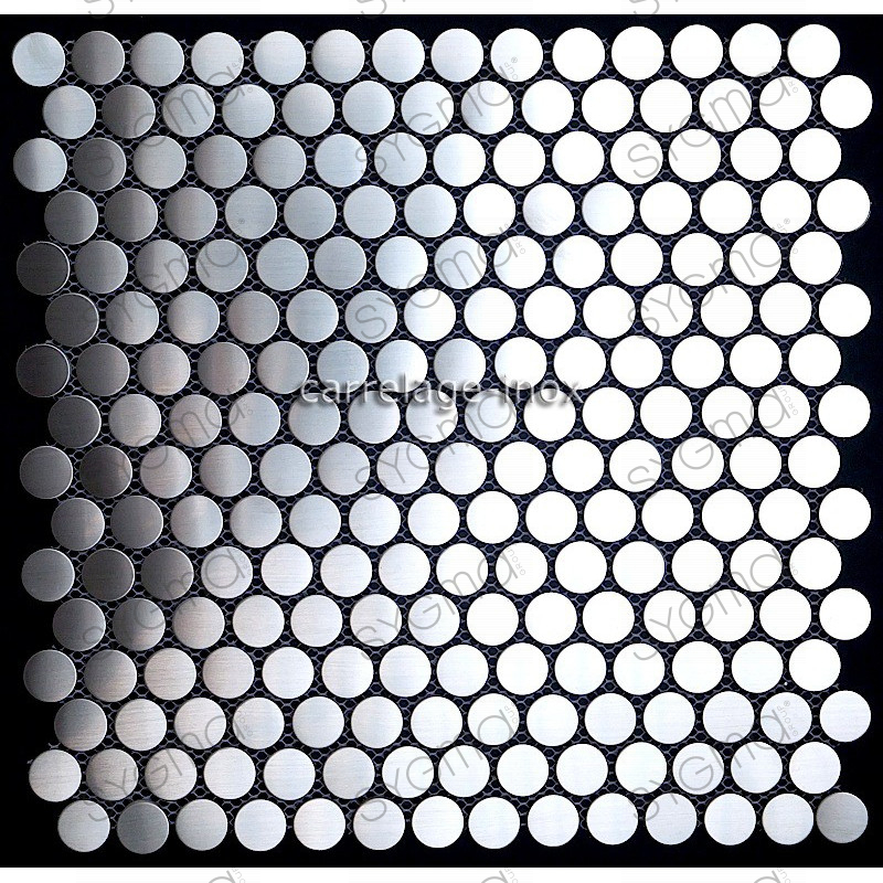 Mosaique inox 1 plaque carrelage faience credence round 20 for Plaque decorative adhesive alu inox metal