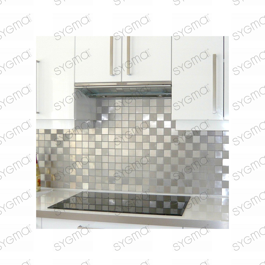 Mosaique et carrelage inox faience credence damier 48 for Protection mur cuisine inox
