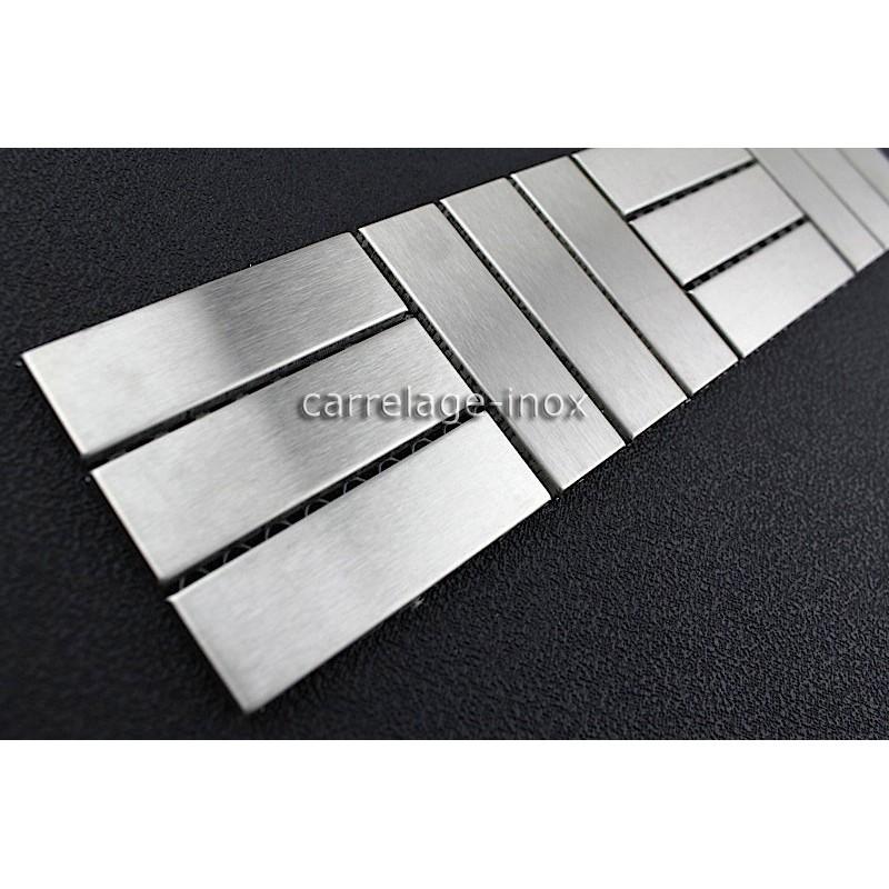 Listel inox frise acier metal mosaique carrelage bordure focus for Frise carrelage