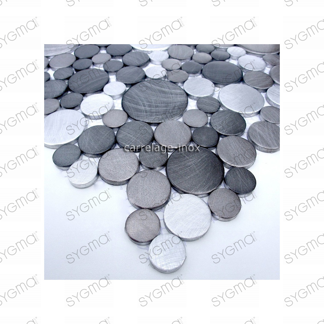 Carrelage aluminium mosaique 1 plaque loopgris for Plaque mosaique salle de bain
