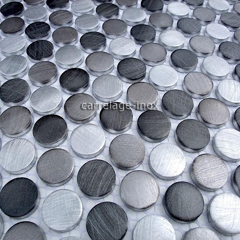Mosaique aluminium carrelage cuisine cr dence circle gris for Inox ou aluminium cuisine
