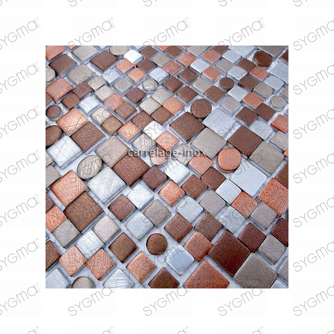 Carrelage aluminium mosaique 1 plaque trendybeige for Mosaique carrelage