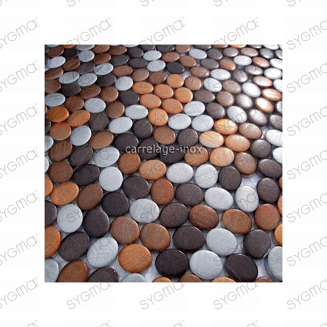 plaque mosaique aluminium sol de douche salle de bain oval marron carrelage. Black Bedroom Furniture Sets. Home Design Ideas