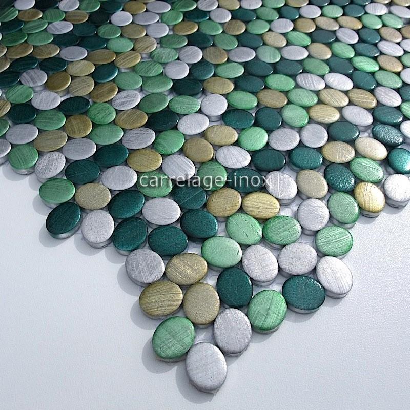 Mosaique aluminium carrelage cuisine cr dence oval vert - Carrelage salle de bain vert ...