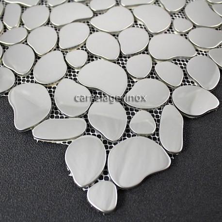 Mosaique inox miroir mosaique cr dence cuisine galet for Miroir en mosaique