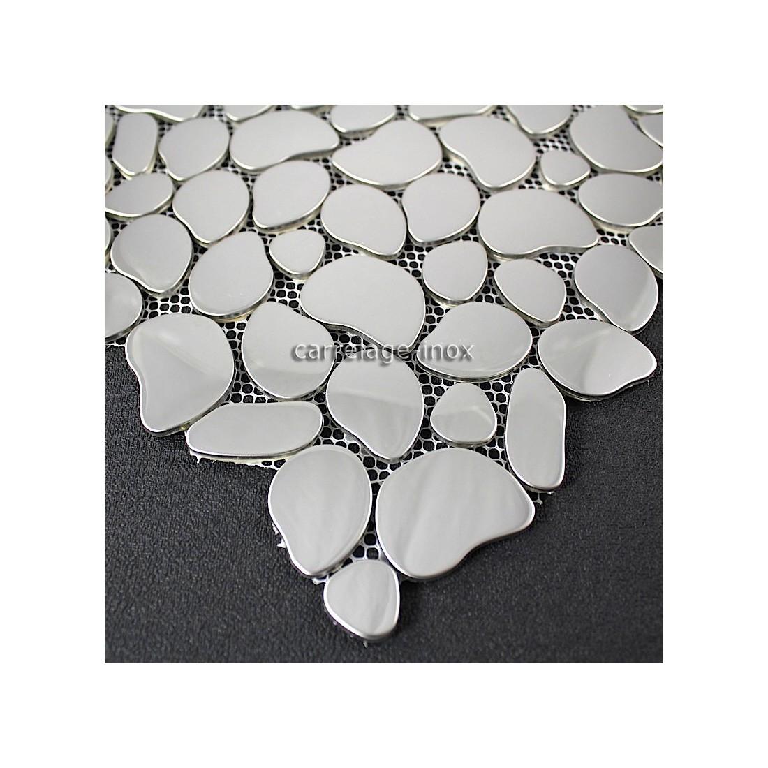 Mosaique inox miroir mosaique cr dence cuisine galet for Credence inox miroir cuisine