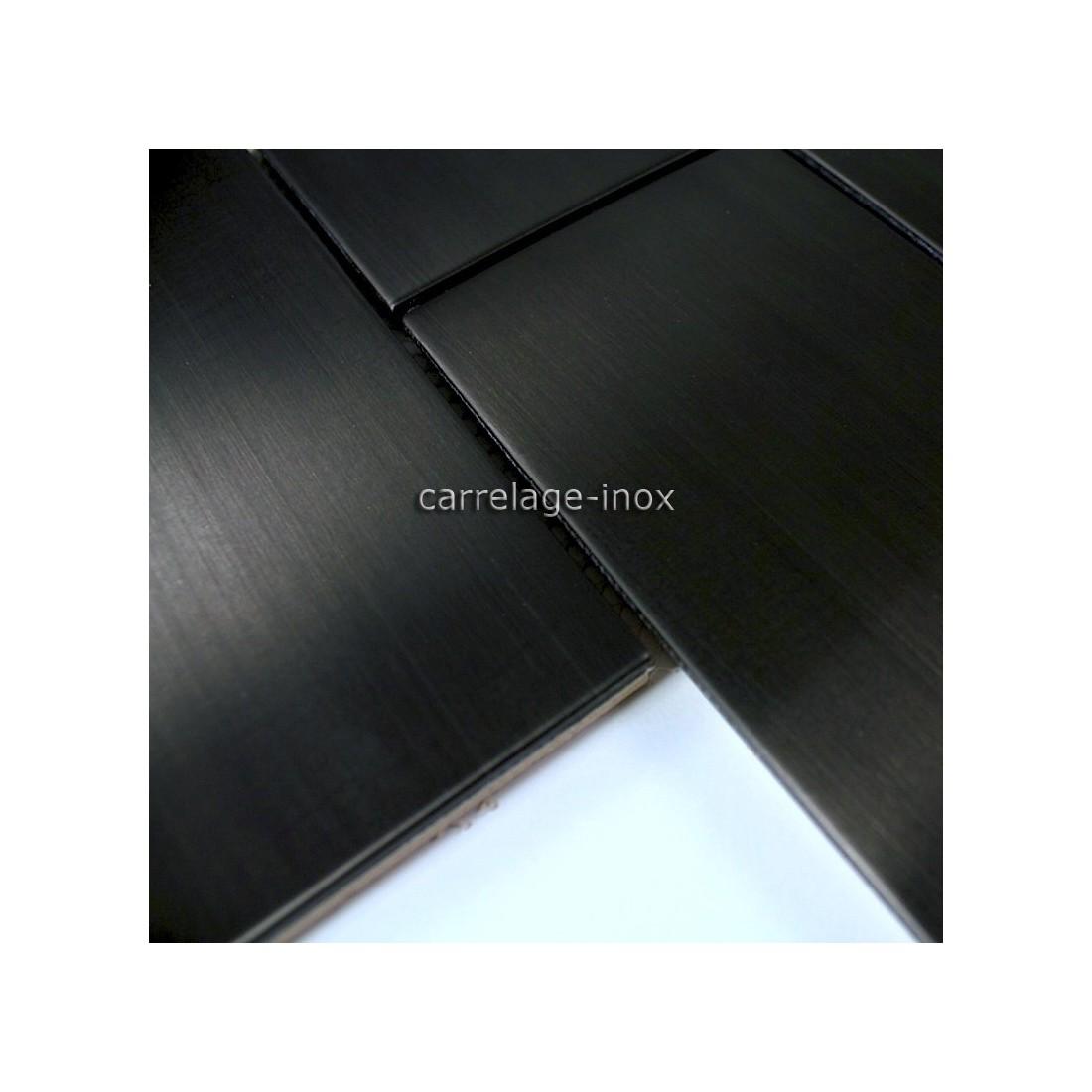 Carrelage mosaique inox bross noir cuisine brique150 noir - Carrelage cuisine noir ...