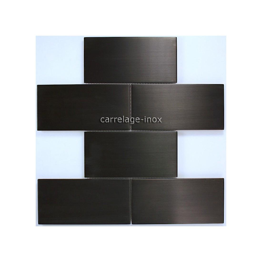 Carrelage mosaique inox bross noir cuisine brique150 noir for Carrelage noir
