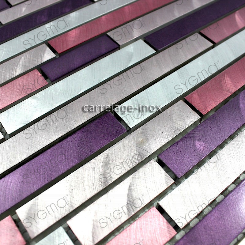 Mosaique aluminium carrelage cuisine cr dence blend violet - Credence cuisine inox a coller ...