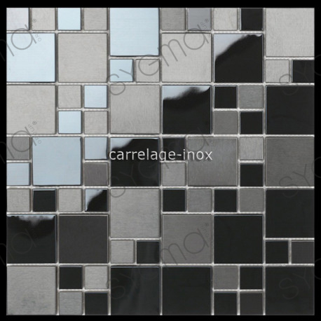 mosaique en inox noir mat et miroir cr dence cuisine oken carrelage. Black Bedroom Furniture Sets. Home Design Ideas