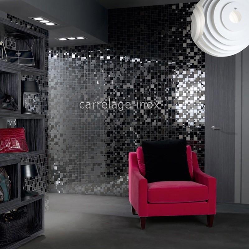 Mosaique en inox noir mat et miroir cr dence cuisine oken for Credence verre salle de bain