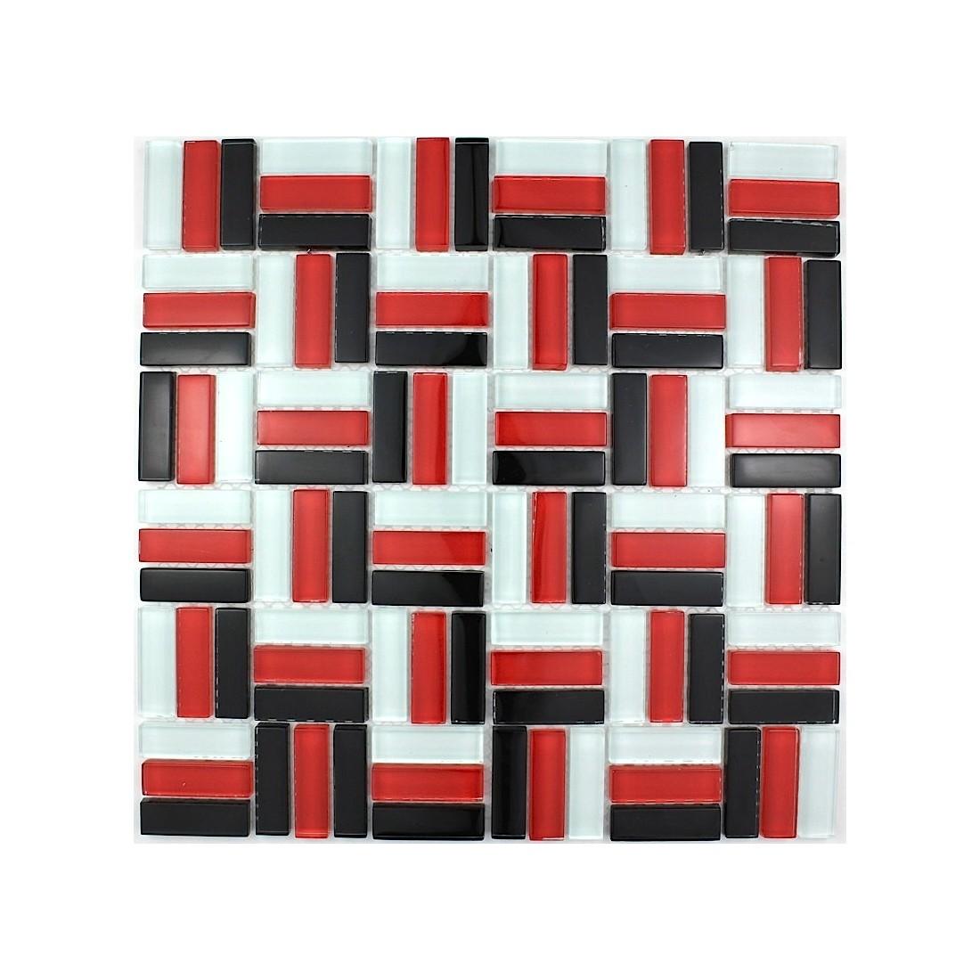 plaque mosa que verre salle de bain douche city rouge. Black Bedroom Furniture Sets. Home Design Ideas
