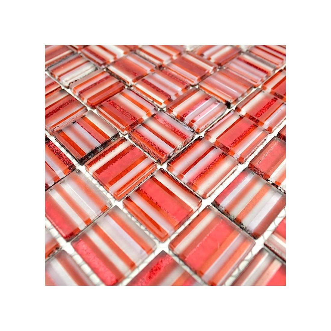 Mosaique salle de bain rouge mosaique verre faience salle for Mosaique rouge salle de bain
