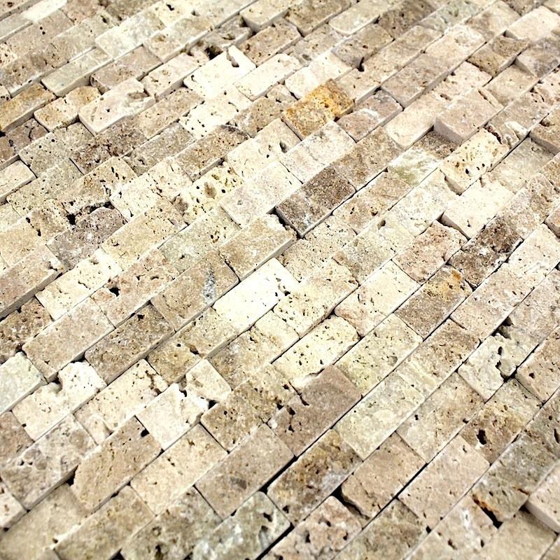 Douche italienne mosaique pierre sol et mur salle de bain for Carrelage salle de bain mosaique beige