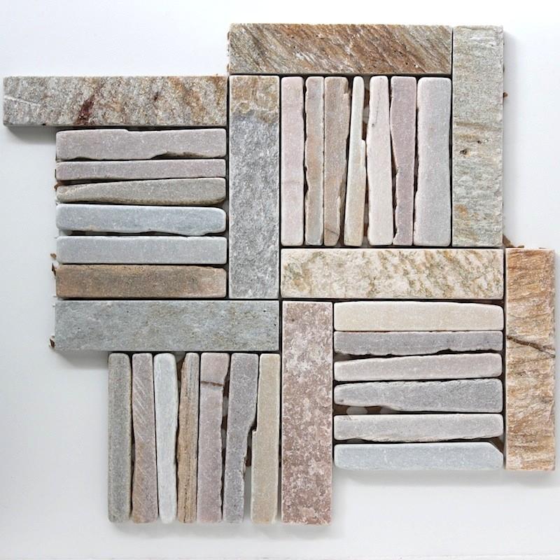 Douche italienne mosaique pierre sol et mur salle de bain - Mosaique pour credence cuisine ...