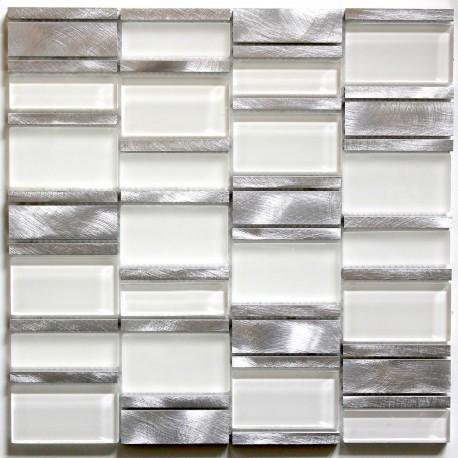 Dalle mosaique aluminium et verre carrelage cuisine for Credence cuisine verre blanc