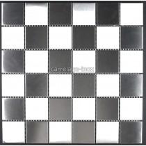 Mosaique et carrelage inox, faience credence DAMIER 48