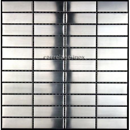 Mosa que inox 1m2 carrelage inox fond de hotte rectangular for Fond de hotte inox brosse