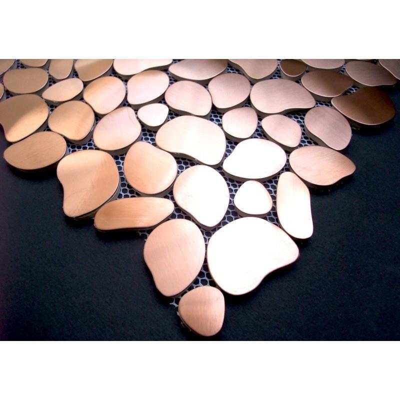 Echantillon mosaique inox douche italienne galet cuivre - Carrelage galet douche italienne ...