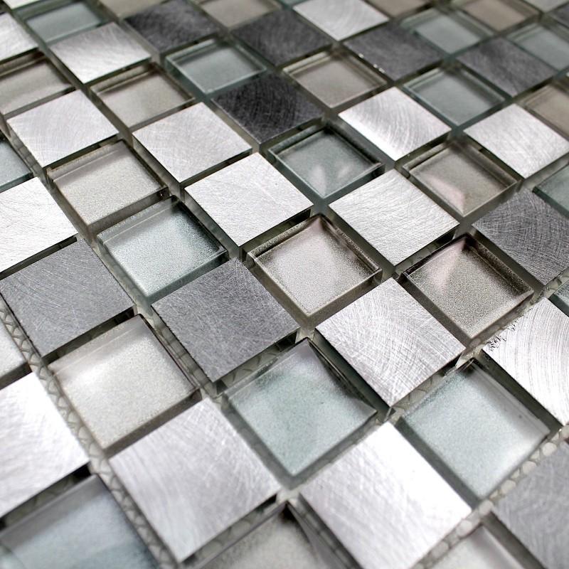 Mosaique Aluminium Et Verre Cuisine Cr Dence Heho Carrelage
