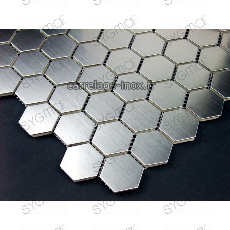 Mosa que inox 1m2 carrelage inox fond de hotte hexagon for Fond de hotte inox
