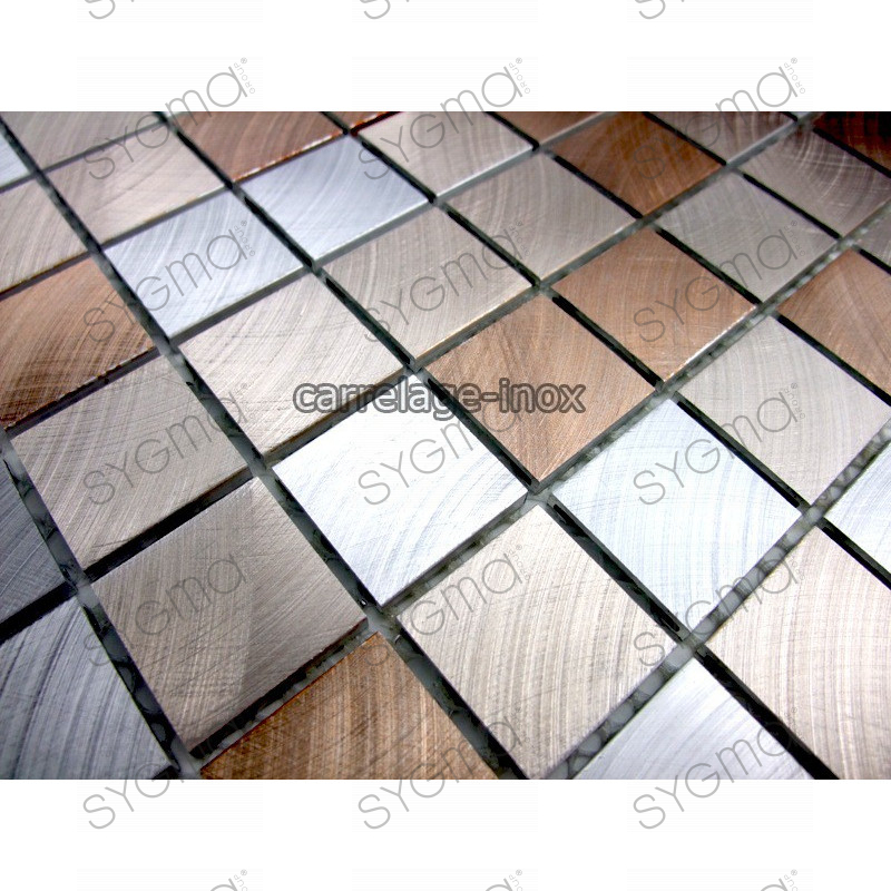Mosaique et carrelage aluminium alu 25 marron for Carrelage en mosaique