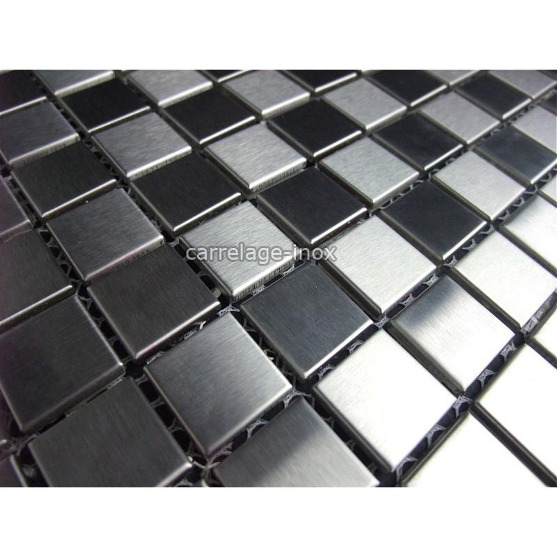 Mosaique et carrelage inox 1m2 damier 20 for Carrelage damier