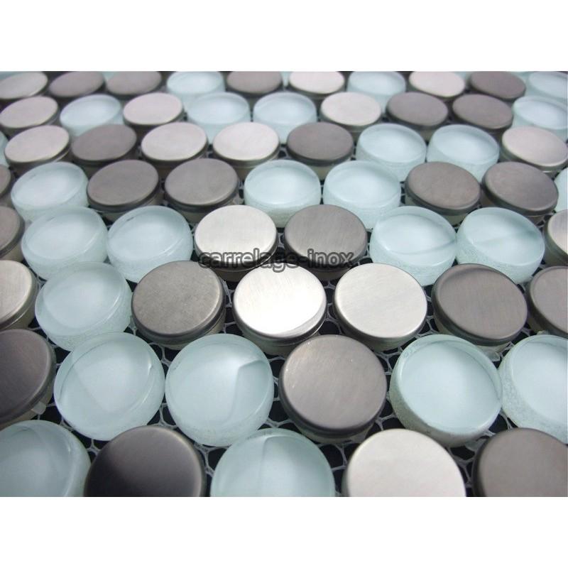 mosaique et carrelage inox 1m2 multi inox round. Black Bedroom Furniture Sets. Home Design Ideas