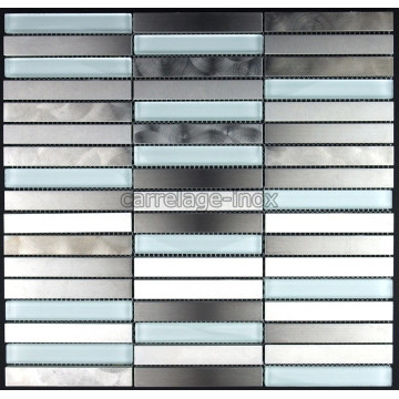 Carrelage inox et verre mosaique plan travail cuisine for Credence inox verre