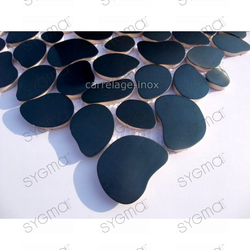 Mosaique inox carrelage inox credence galet noir for Carrelage noir