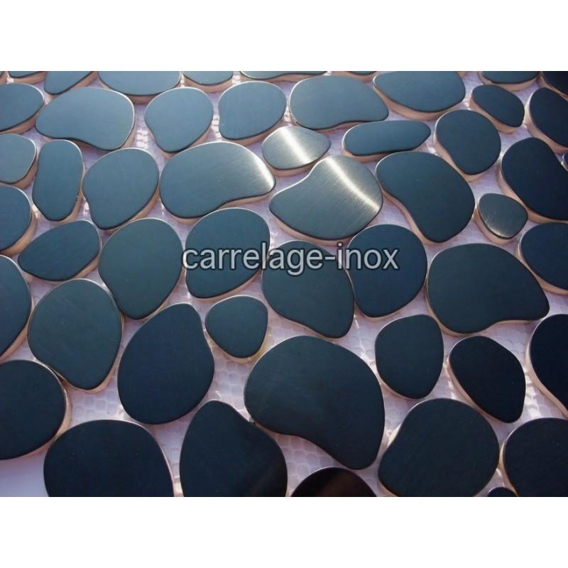 Mosaique inox carrelage inox credence galet noir - Credence inox a coller sur carrelage ...