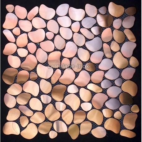 Mosa que inox 1m2 carrelage inox fond de hotte galet for Carrelage cuivre