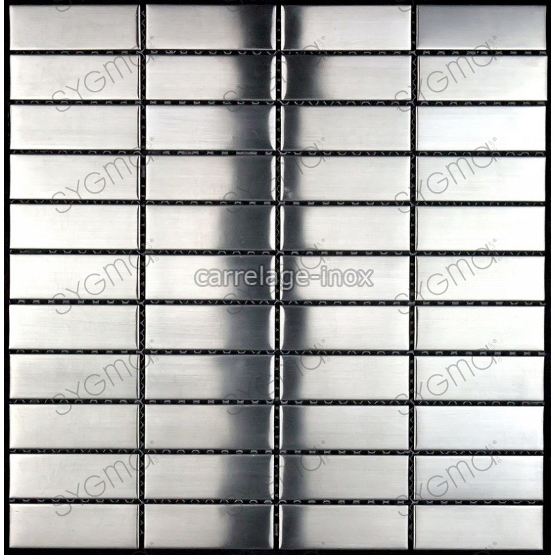 Mosaique inox carrelage credence faience rectangular 74 for Carrelage inox credence