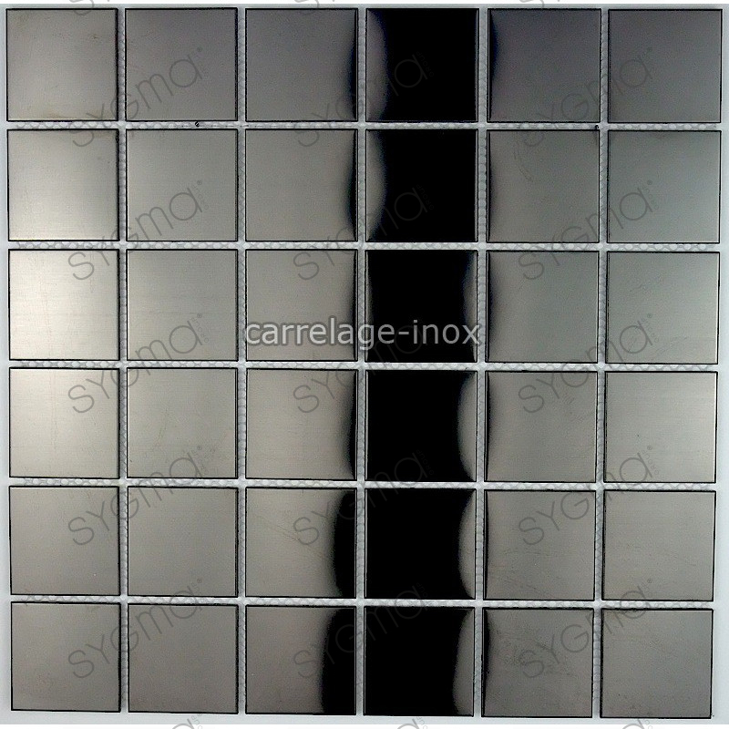 Mosaique et carrelage inox 1m2 regular noir for Carrelage mosaique