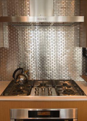 Photo carrelage inox carrelage for Credence cuisine metal